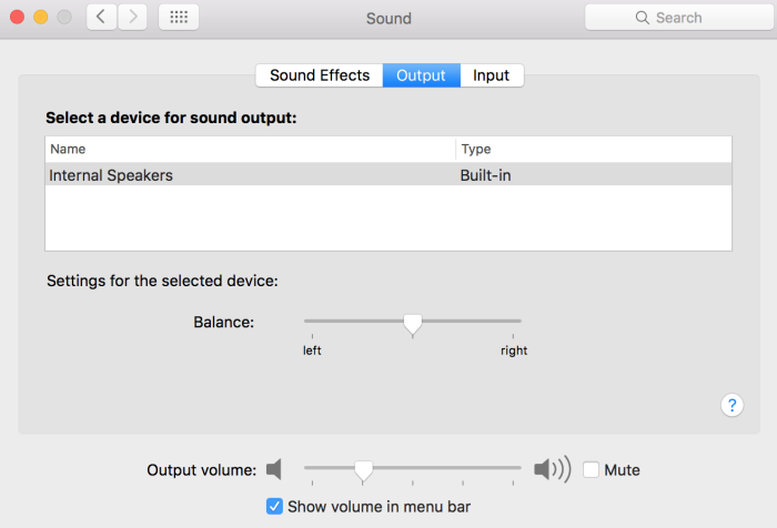 System Preferences - Sound Settings